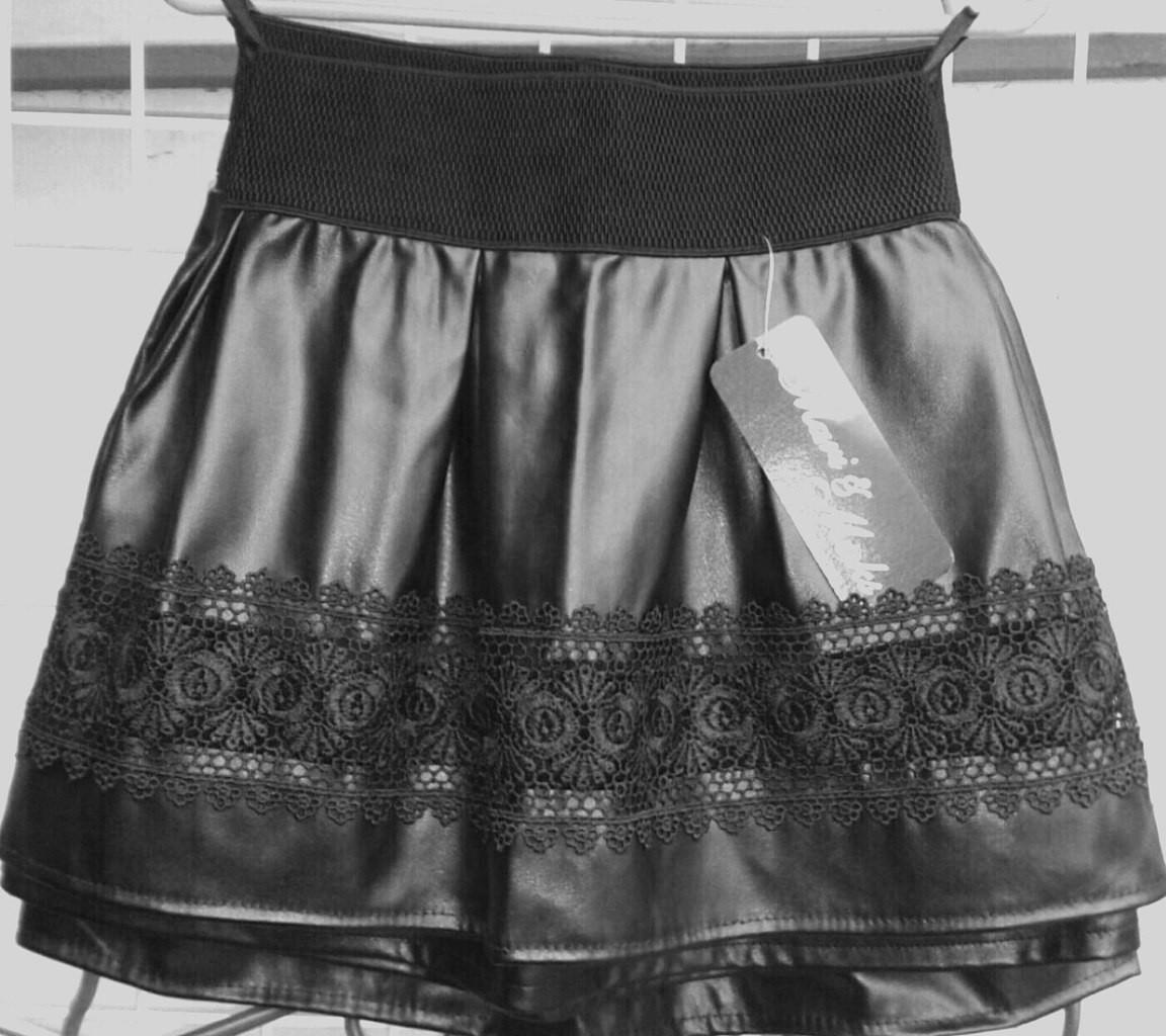 """Детская кожаная юбка на резинке """"Кружево"""" с кружевом (4 цвета)"""