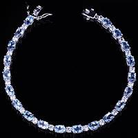 Серебряный женский браслет с голубым топазом, фианиты