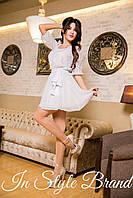 Платье женское короткое шифоновое с объемными рукавами P1903