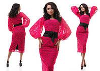 Платье из гипюра с контрастным подкладом 2 цвета