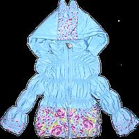 Детская стеганая куртка на молнии с капюшоном, наполнение - синтепон, Китай, р. 80, 86