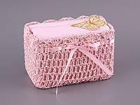 Набор полотенец для лица 30Х30 см розовые 2 шт в плетенной коробке 813-012