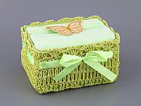 Набор полотенец для лица 30Х30 см салатовые 2 шт в плетенной коробке 813-038