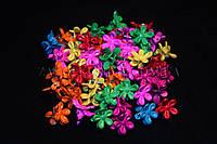 Крабики для волос цветы маленькие, каучуковые, длина: 17 мм, 100 шт.