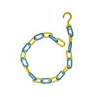 Торговая пластиковая жёлто-голубая Патриотическая цепь 95см с крючком