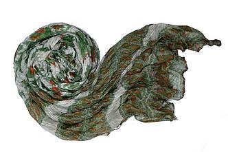 Шарф Косичка огуречный мотив зеленый