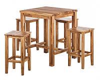 Барный комплект стол барный кухонный и 4 барных стула из массива дуба 015