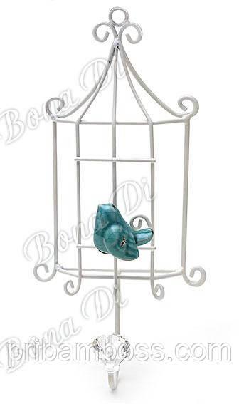 Вешалка-крючок с керамической птичкой