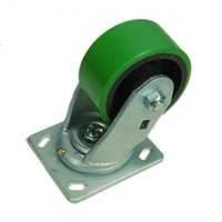 Ролик W0999. Ø 100 мм. Зелёный полиуретан. Чугунная база. Повышенной прочности. Нагрузка 317,5 кг. Поворотный без стопора. Оснащены нипелями для