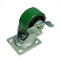 Ролик W0999-B. Ø 100 мм. Зелёный полиуретан. Чугунная база. Повышенной прочности. Нагрузка 317,5 кг. Поворотный со стопором. Оснащены нипелями для