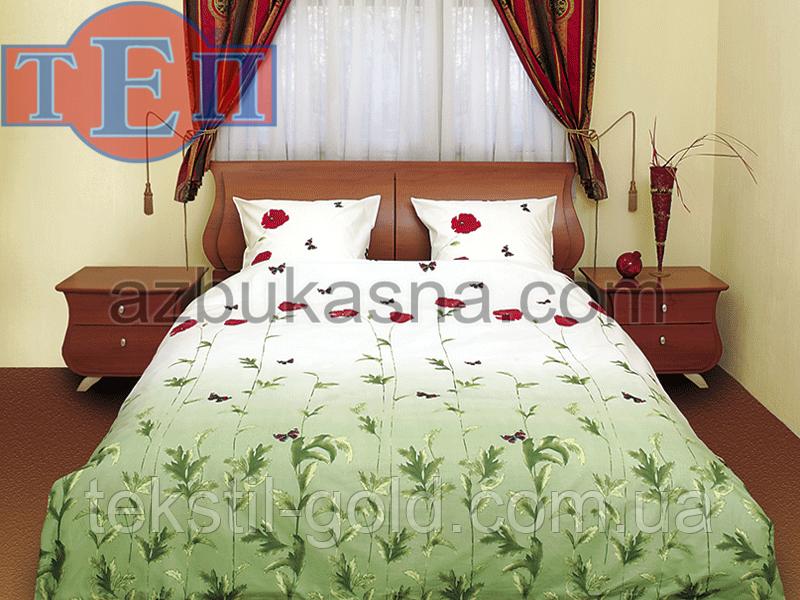 Комплект постельного белья 533 «Маки зеленые» ТМ ТЕП (Украина) бязь евро