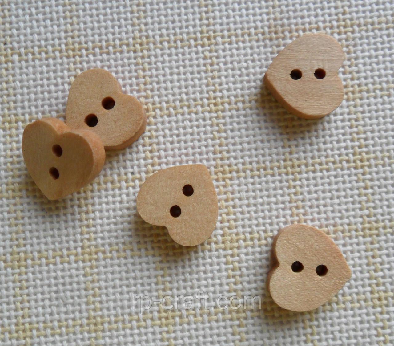 Гудзик дерев'яний, декоративний. Серце, 12х12 мм