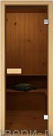 """Стеклянные двери для сауны и бани """"Бронза"""" 70 х 200 см (Дверная коробка ольха)"""