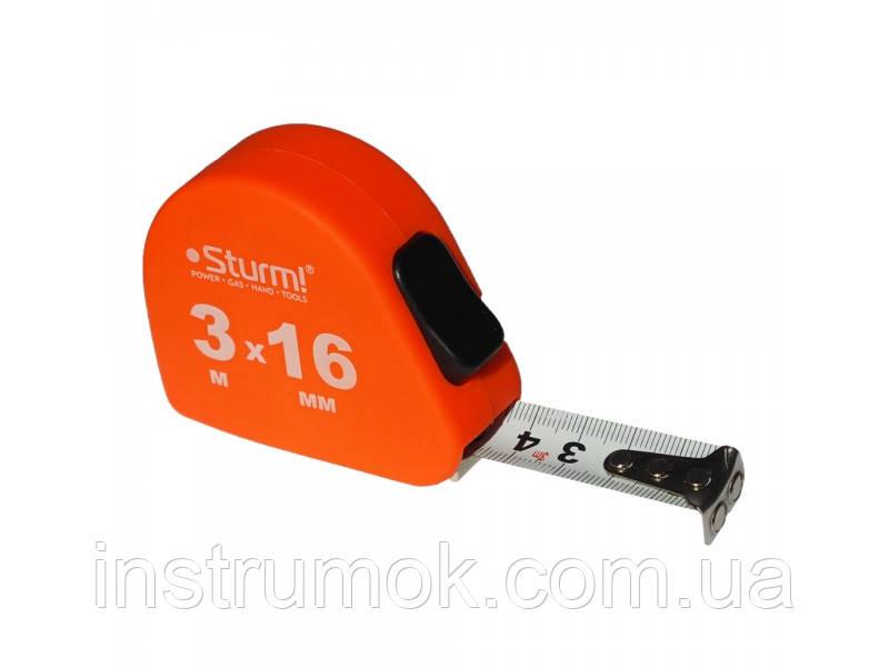 Рулетка измерительная 3 м, 16 мм, автостоп, Soft Touch Sturm 3100201