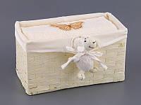 Полотенце банное 70Х140 см бежевое в плетенной корзинке с декором 813-040