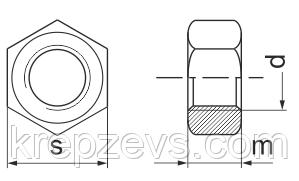 чертеж Гайка М6 мелкая резьба DIN 934, ГОСТ 5927
