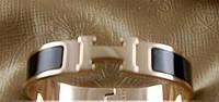 Браслет HERMES ювелирная бижутери золото 14К + черная эмаль