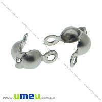 Каллот из нержавеющей стали, 8х4 мм, Темное серебро, 1 шт (STL-015373)