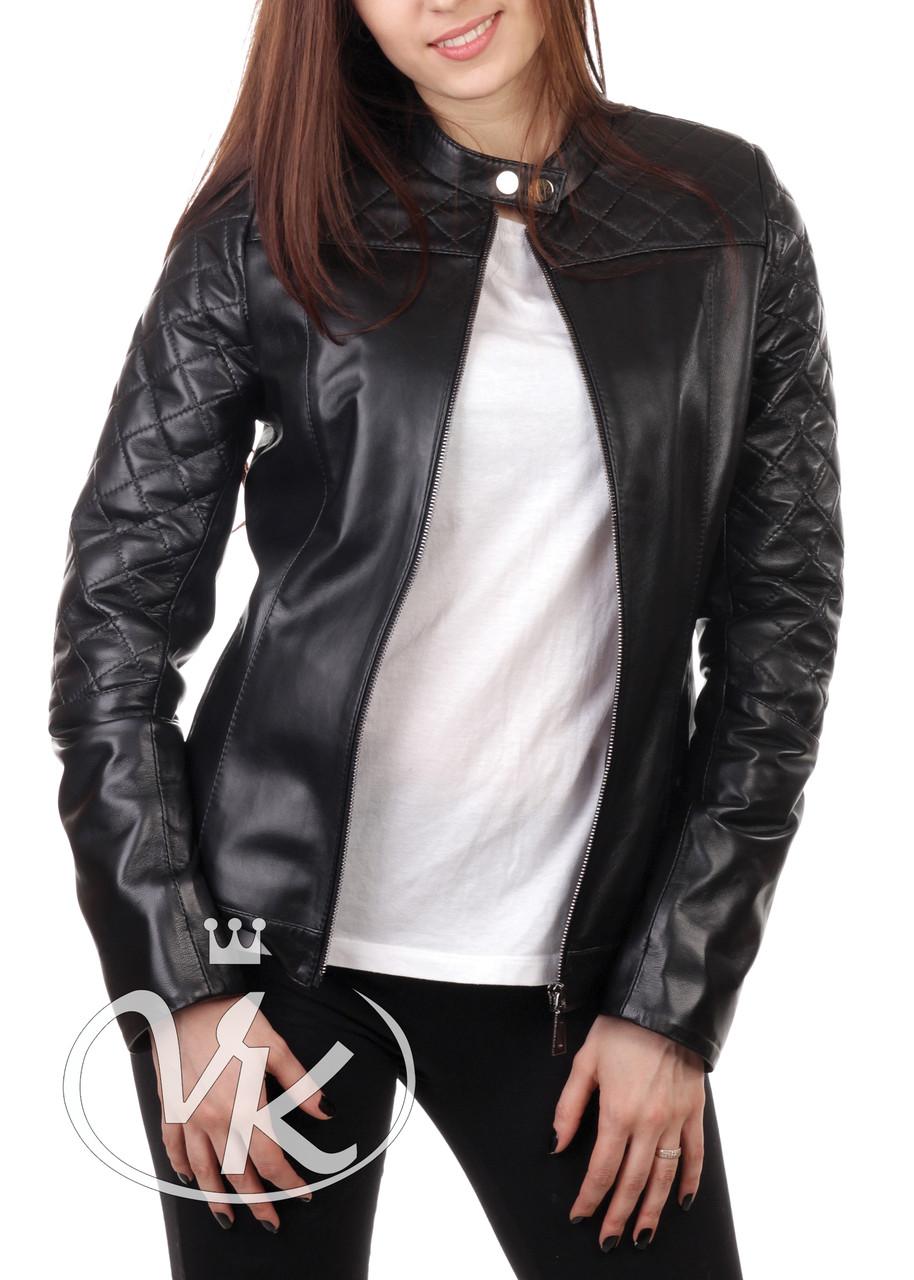 Черная кожаная куртка женская короткая (Арт. IMP201)