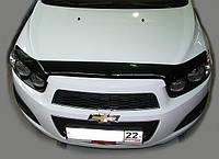 Дефлектор капота, мухобойка Chevrolet AVEO, 12-, темный Шевроле Авео12-