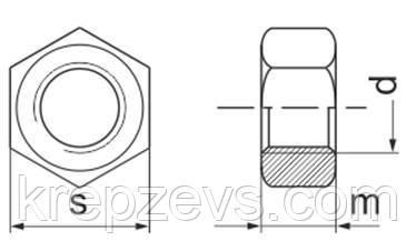 чертеж Гайка М8 с мелкой резьбой шаг 1 DIN 934, ГОСТ 5927-70