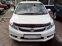 Дефлектор капота, мухобойка HONDA Civic 2012-,сед., темный Хонда Цивик