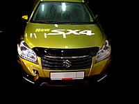 Дефлектор капота (мухобойка) Suzuki SX4 2013-. темный