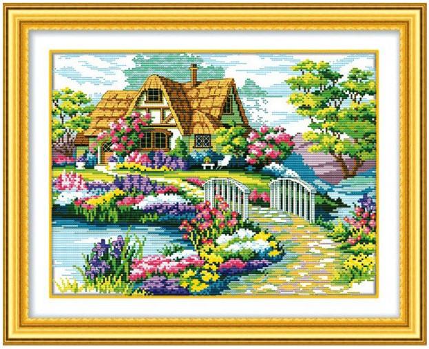 Наборы для вышивки нитками - пейзажи, дома, море