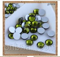 Стразы ,стекло ( аналог Swarovski) SS3 - 1.2мм, зеленые,100 шт.