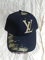 Чёрная хлопковая  бейсболка с принтом логотипа   Louis Vuitton