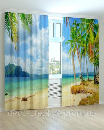 Фотошторы пальмы на побережье