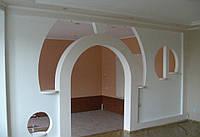 Декоративная перегородка в комнате из гипсокартона