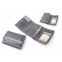 Бумажник женский с камнями Swarovski, кожаный, черный