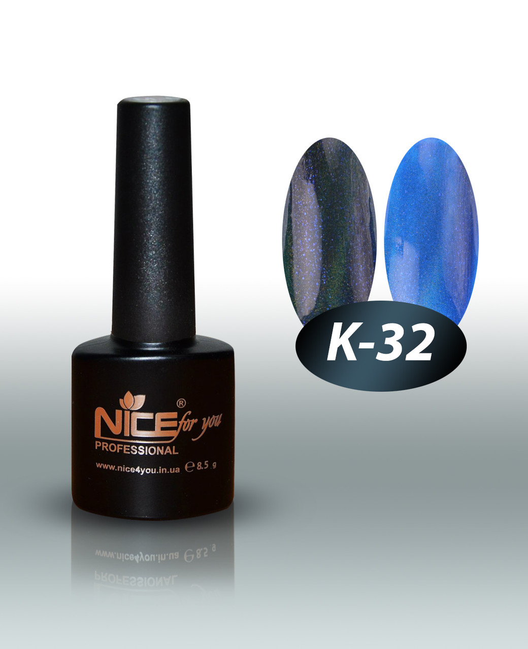 """Гель-лаки для ногтей """" Кошачий глаз"""" Nice For You, № К-32, 8,5 мл"""