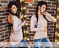 Женская кофта  с кожаным бантиком на спине