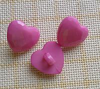Пуговица пластиковая, декоративная, фигурная. Лиловое сердце на ножке