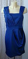 Платье женское элегантное коктейльное синее мини Eksept р.46 6236