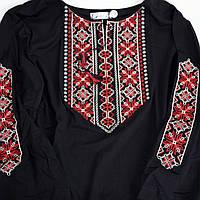 Вышитая футболка Мережка красная рукав 3/4
