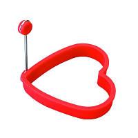 Силиконовая форма для яичницы  Сердце красное