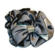 Заколки оптом; Объемная атласная резинка для волос с бантом и камнями чешское стекло; 12 штук в коробке