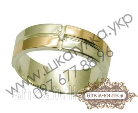 Серебряное кольцо с золотом и фианитами № 15о