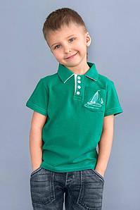 Футболка с воротником поло для мальчика (зеленый) 2-7 лет