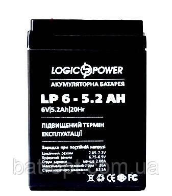 Аккумуляторная батарея LogicPower 6V - 5.2Ah LP 652 свинцово-кислотный