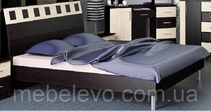 Кровать София 160 940х1672х2130мм венге темный + венге светлый   Мебель-Сервис