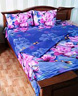 Евро комплект постельного белья Розовая Магнолия (100)