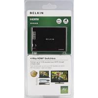 Коммутатор видео Belkin HDMI SwitchBox High Speed w/Ethernet, (4 вх, 1 вых) (F3Y045bf)