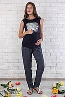 """Свободные брюки для беременных """"Sydney"""", из легкого штапеля, галстучный принт на темно-синем фоне"""