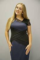 Платье Мадлен с гипюром синего цвета, р 50-56, фото 1