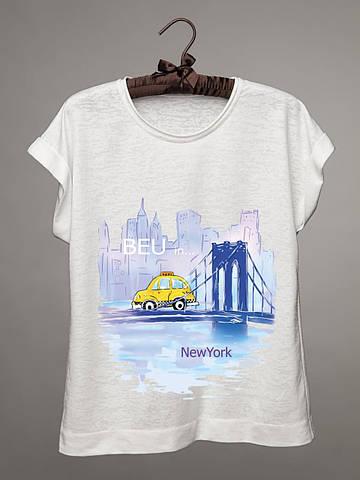 Футболка женская с принтом Нью - Йорк (машина)