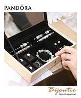 Pandora ШКАТУЛКА С ЗЕРКАЛОМ №190702 бежевая кожа  Пандора оригинал
